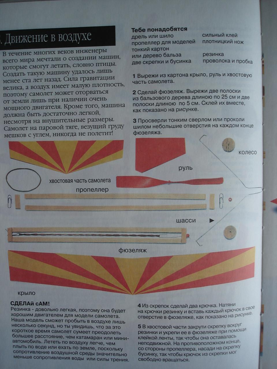 схема резиномоторного планера из пенопласта